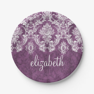 Purple Plum Grunge Damask Pattern with Name Paper Plate