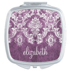 Purple Plum Grunge Damask Pattern With Name Vanity Mirror at Zazzle