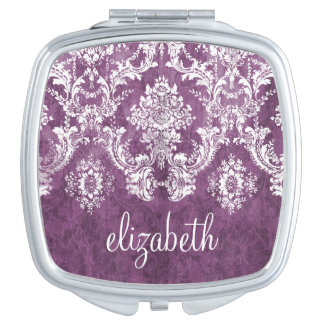 Purple Plum Grunge Damask Pattern with Name Vanity Mirror