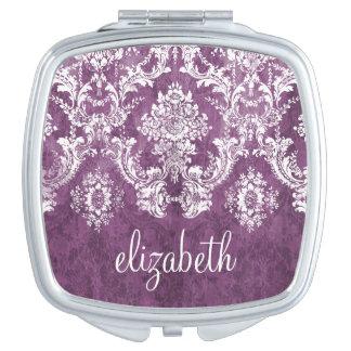Purple Plum Grunge Damask Pattern with Name Vanity Mirror