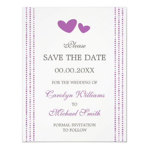 Purple / plum hearts Save the Date announcement