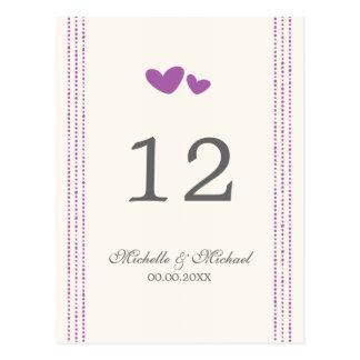Purple / plum hearts wedding table number card postcard