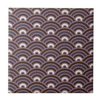 Purple Plum Mauve Art Deco Scallop Small Square Tile