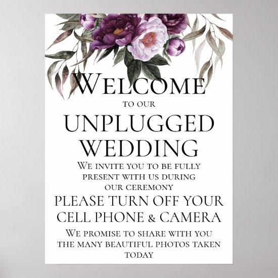 Purple Plum Peonies Unplugged Wedding Ceremony Poster