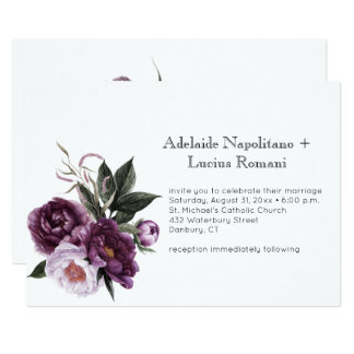 Purple Plum Pink Floral Watercolor Wedding | Invitation