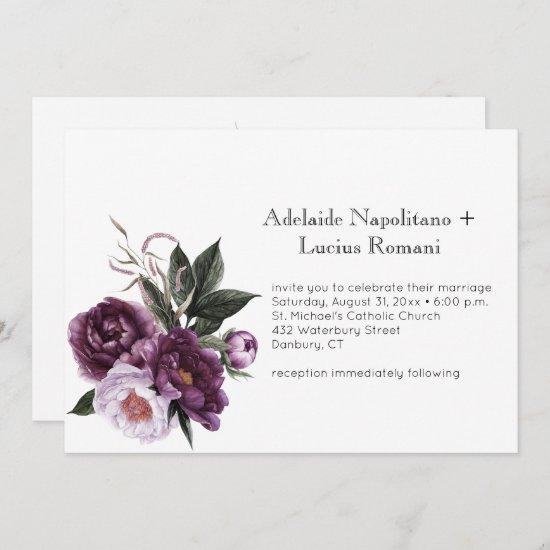 Purple Plum Pink Floral Watercolor Wedding | Invitation