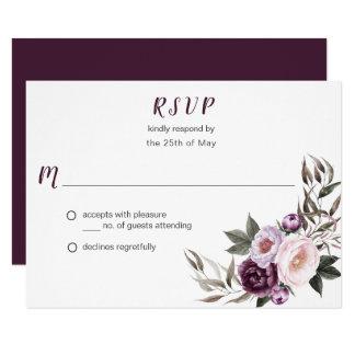 Purple Plum Pink Peonies Bouquet Greenery RSVP #2 Card