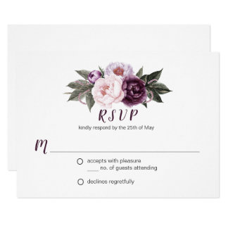 Purple Plum Pink Peonies Bouquet Greenery RSVP #3 Card