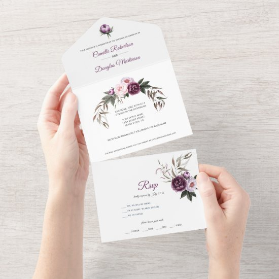 Purple Plum Pink Peonies Floral Wedding   All In One Invitation