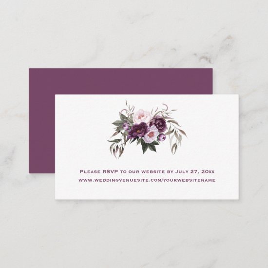 Purple Plum Pink Peonies Floral Wedding   Enclosure Card