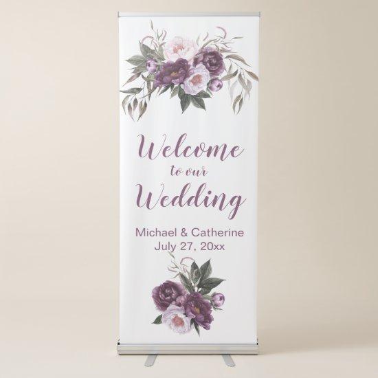 Purple Plum Pink Peonies Floral Wedding   Retractable Banner