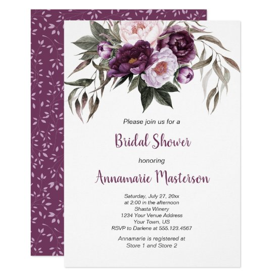 Purple Plum Pink Peonies Greenery Bridal Shower Invitation