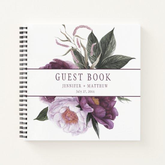 Purple Plum Pink Peonies Greenery Guest Book