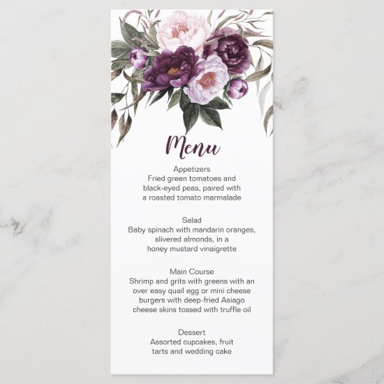 Purple Plum Pink Peonies Greenery Menu Cards