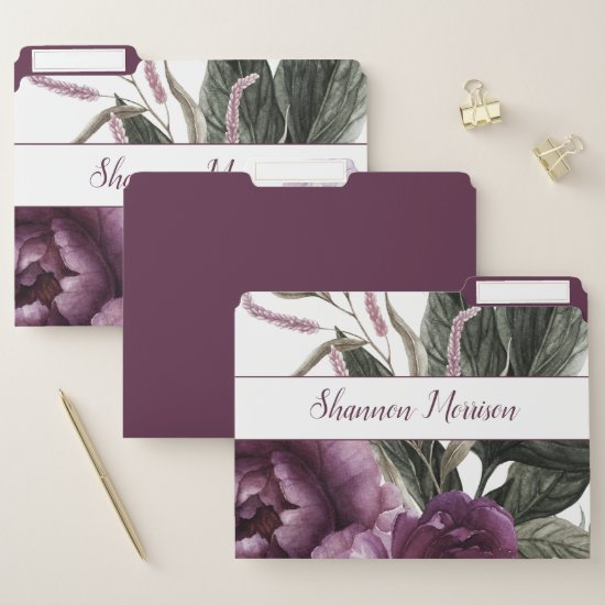 Purple Plum Pink Peonies Greenery Monogram File Folder
