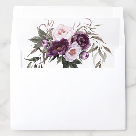 Purple Plum Pink Peonies Greenery Wedding Envelope Liner