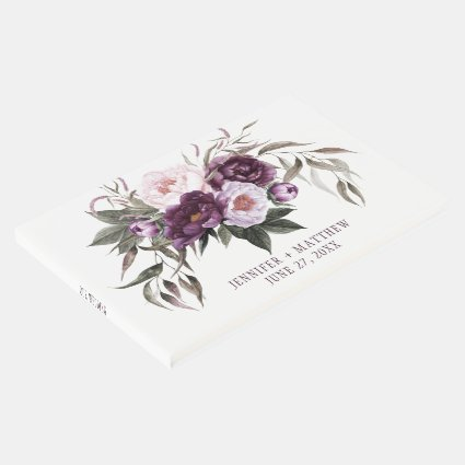 Purple Plum Pink Peonies Greenery Wedding Guest Book