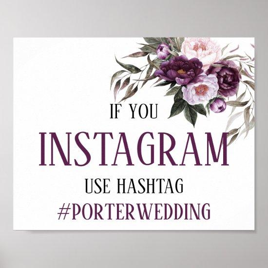 Purple Plum Pink Peonies Instagram Hashtag Wedding Poster