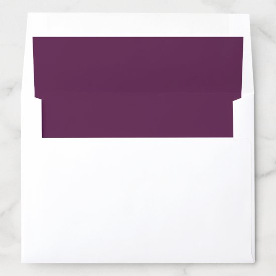 Purple Plum Pink Peonies Solid Purple Envelope Liner