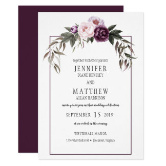 Purple Plum Pink Peonies Watercolor Weddings #1 Invitation