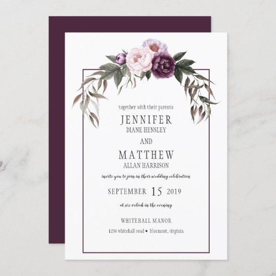 Purple Plum Pink Peonies Watercolor Weddings #1 Invitation