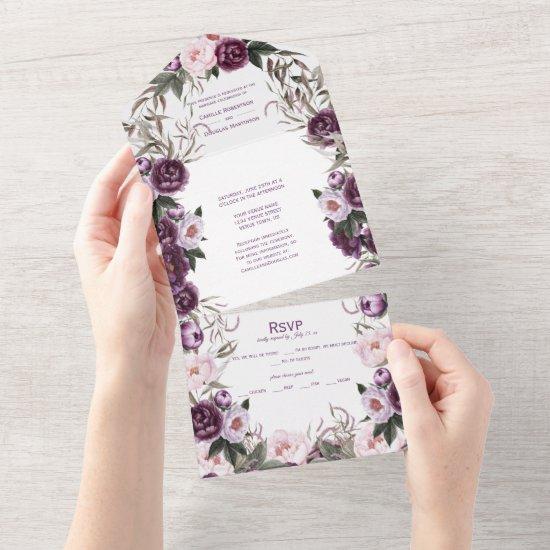Purple Plum Pink Peonies Wedding   All In One Invitation