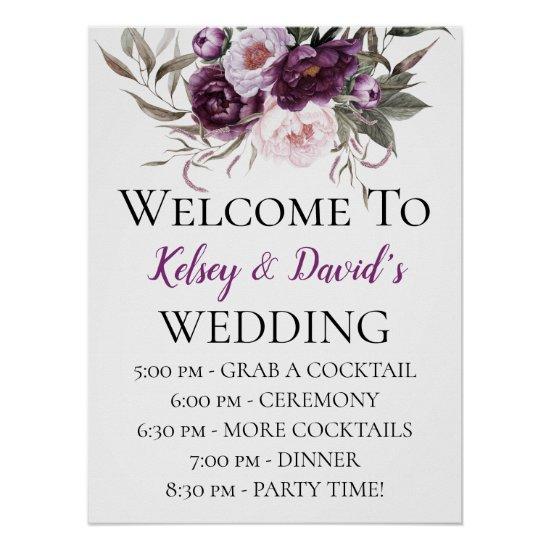 Purple Plum Pink Peonies Wedding Details Welcome Poster