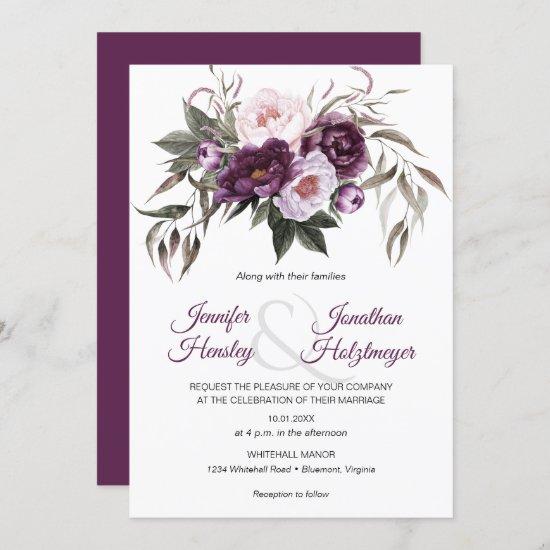 Purple Plum Pink Peonies Wedding Invitation