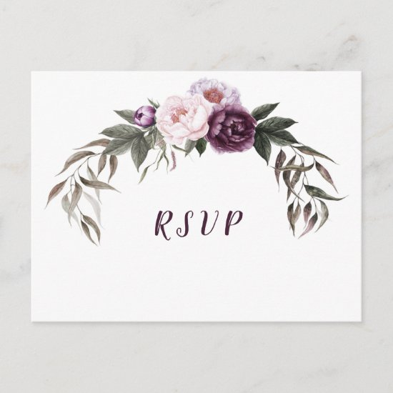Purple Plum Pink Peonies Wedding RSVP Postcard