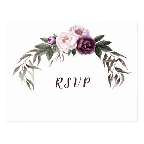 Purple Plum Pink Peonies Wedding RSVP Postcard