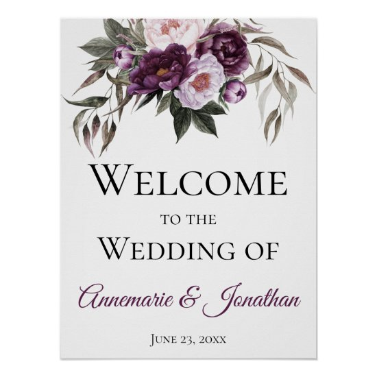 Purple Plum Pink Peonies Welcome to Our Wedding Poster
