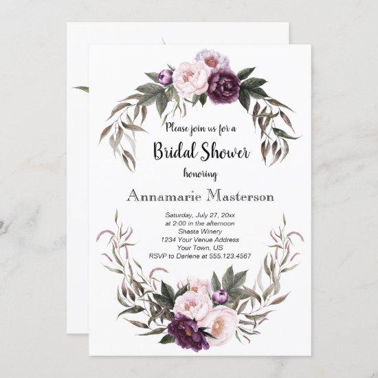 Purple Plum Pink Peonies Wreath Bridal Shower Invitation