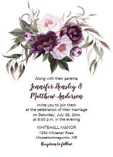 Purple Plum Pink Watercolor Fl Wedding 3 Invitation