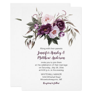 Purple Plum Pink Watercolor Floral Wedding #3 Invitation