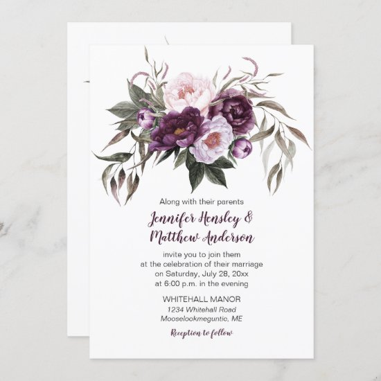 Purple Plum Pink Watercolor Floral Wedding #3 Invitation