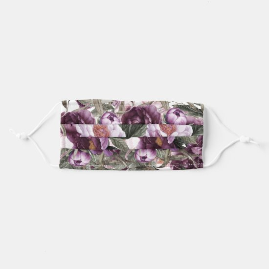 Purple Plum Pink Watercolor Peonies Cloth Face Mask