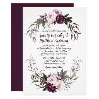 Purple Plum Pink Watercolor Peonies Wedding #2 Card