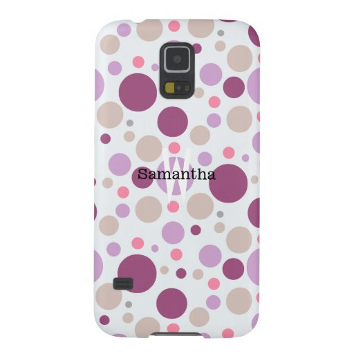 Purple Plum Polka Dots Custom Name Galaxy S5 Case