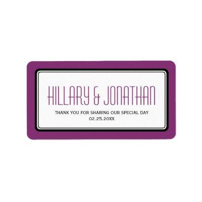 Purple plum rectangular frame wedding favor labels by FidesDesign