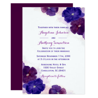Purple Plum Royal Blue Watercolor Floral Wedding Card
