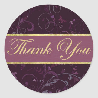 Purple & Plum Thank You Sticker/Seal Classic Round Sticker