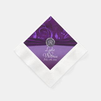 Purple Plum Velvet Like Vine Monogram Wedding Coined Cocktail Napkin