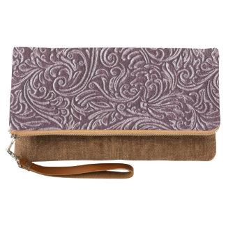Purple Plum Vintage Tin Tile Look Rustic Home Clutch