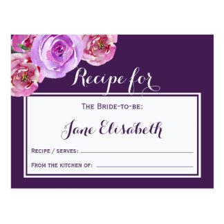 Purple plum violet floral bride to be recipe card