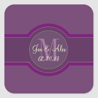 Purple Plum Wedding Favour Stickers Heart Shaped