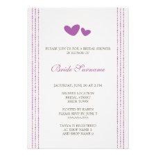 Purple / plum whimsical hearts bridal shower invitations