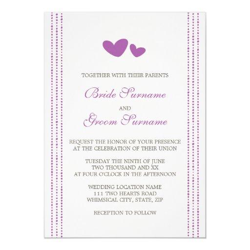 Purple Plum Whimsical Hearts Wedding Invitation