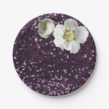 Beach Themed Purple Plum White Jasmine Glitter Paper Plate