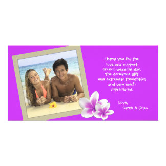 Purple Plumeria Hawaiian Photo Thank You Card Photo Card