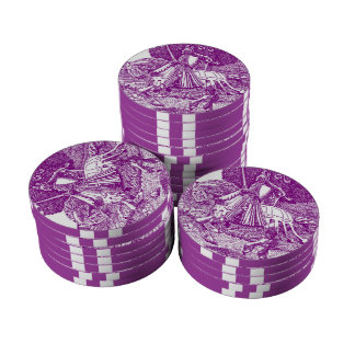 Purple Poker Chip Lucky Knight Horse Gamblers Poker Chip Set